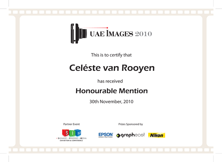 UAE Images Certificate_Celéste van Rooyen